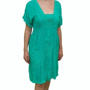 Johnny Was Boho Embroidered Square Neck Dress XS